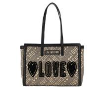 Shopper Love Tote Bag Jacquard Leather Gold Black