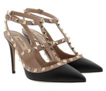 Rockstud Ankle Strap Nero/Poudre Pumps