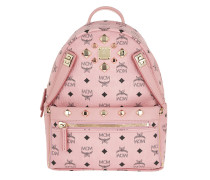Dual Stark Backpack/Pouchette Visetos Soft Pink Rucksack gold