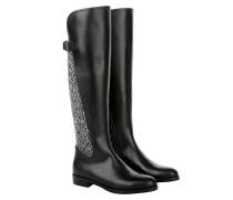 Boots & Booties - Riding Boot Bouclé Black / White