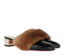 Schuhe Block Heels Fur Leather Black/Brown