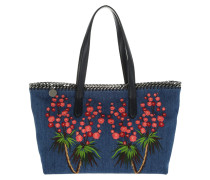 Falabella Embroided East West Denim Tote Cerulean