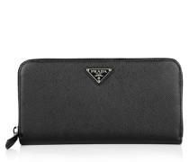Kleinleder - Portafoglio Lampo Saffiano Zip Around Wallet Nero