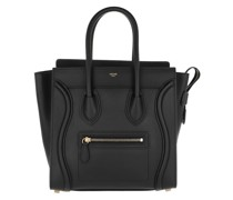 Tote Micro Luggage Bag Calfskin Leather Black