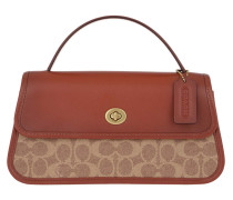 Satchel Bag Turnlock Clutch Tan Rust