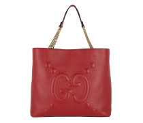 Apollo Embossed GG Tote Bag Hibiscus Red