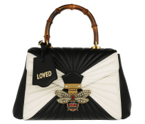 Queen Margaret Quilted Top Handle Bag Nero/Bianco Satchel weiß
