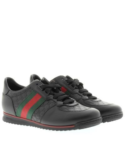 gucci damen gucci sneakers leather lace up sneaker black in schwarz sneakers f r damen. Black Bedroom Furniture Sets. Home Design Ideas