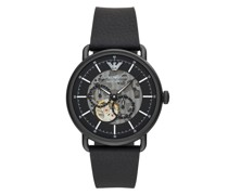 Uhr Multifunction Black Leather Watch