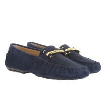 Caliana Suede Loafers Modern Navy Schuhe blau