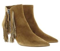 Boots & Booties - Fringe Suede Booties Camel