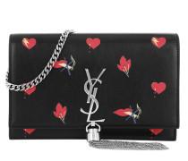 YSL Monogramme SL Kate Chain Wallet Noir/Rouge Clutch rot