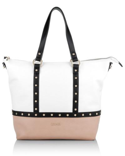 liu jo damen liu jo tasche shopping bag io white nude in beige wei schwarz henkeltasche. Black Bedroom Furniture Sets. Home Design Ideas