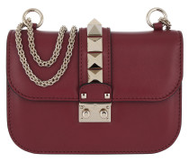 Rockstud Lock Shoulder Bag Small Rubino