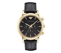Uhren Men's Chronograph Black Leather Watch