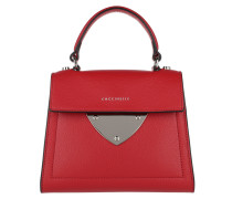 Shiny Nickel Satchel Bag Small Coquelicot