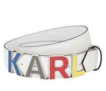 Gürtel Karl Metal Letters Belt White