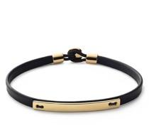 Armbänder Nexus ID Leather Bracelet Gold Vermeil Polished S