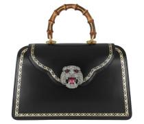 Handle Bag Frame Print Black/Gold Satchel