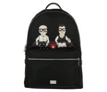 Men Backpack Vulcano DG Family Designer Patch Nylon Black Rucksack