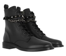 Boots Rockstud Combat Smooth Leather Black