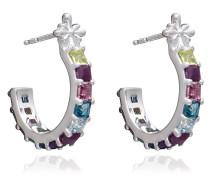 Ohrringe Statement Gemstone Hoop Earrings Silver