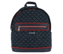 Quilted Denim Backpack Navy/Rosso Rucksack rot