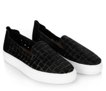Loafers & Slippers - Burke Slip-On Woven Hair Calf Black