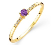 Ring 9K with Diamond and Amethyst