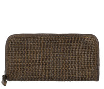 Wallet Thin Woven Cow Verde Militare