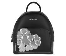 Backpack Metalic Heart Argento Rucksack