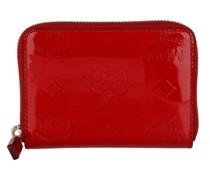 Portemonnaie New Zip Metallic Patent Leather Wallet Mini Red
