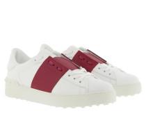 Sneakers Open Calfskin Bianco Raspberry Pink