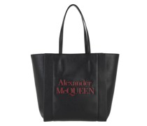 Tote Logo Bag Leather Black Deep Red
