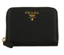 Wallet Zip Around Small Saffianiano Logo Lettering Nero Portemonnaie
