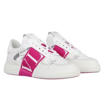 Sneakers VLTN Low Top Calf Leather Bianco Sheer Fuxia Ghiaccio