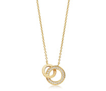 Halskette Prato Due Necklace White Zirconia 18K Gold Plated