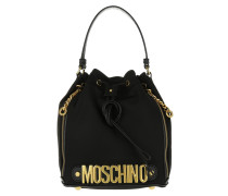 Logo Medium Nylon Bucket Bag Black Beuteltasche