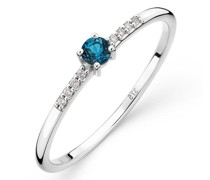 Ring 9K with Diamond and Topaz
