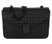 Umhängetasche C Bag Medium Patent Calfskin Black
