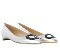 Ballerinas - Auric Flat Pointy Pumps Silver Laminate