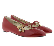 Patent Ballet Flat With Bee Red Ballerinas
