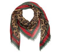 Sylvie Leopard Print Modal Silk Shawl Leo/Green Schal rot