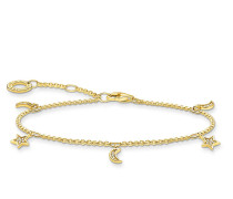 Armband Bracelet Star & Moon Pearl White