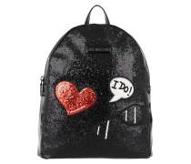 Backpack Glitters Metallic Patches Nero Rucksack schwarz