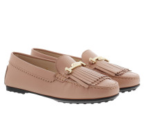 Double T Fringed Moccasin Pink Schuhe gold