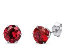 Ohrringe 9KT Created Ruby Earring White Gold