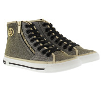 High-Top Lamé Lace Sneaker Oro