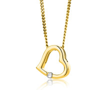 Halskette 0.01ct Diamond Heart Necklace 18KT Yellow Gold