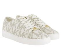 Keaton Lace Up MK Signature PVC Vanilla Sneakers beige